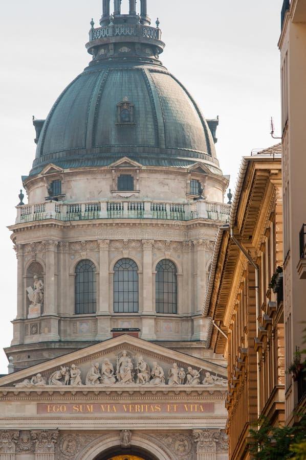 Closeup of St. Steven's Basilica, Budapest, Hungary stock images