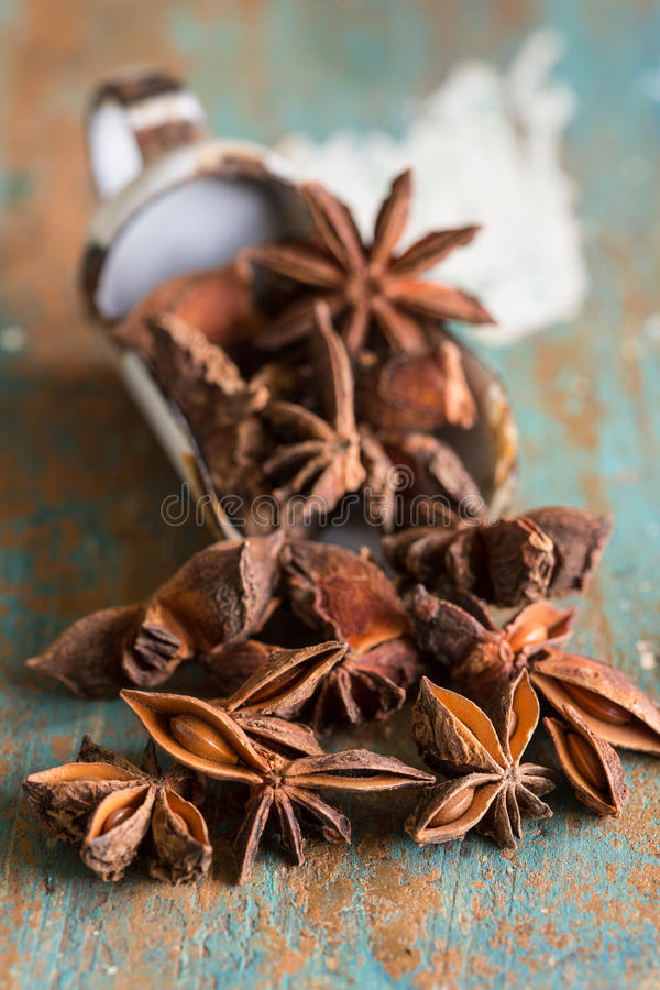 Closeup of star anis. Close up of fragrant spice star anis stock images