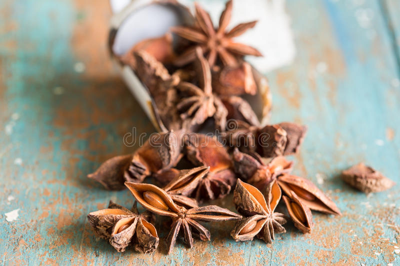 Closeup of star anis. Close up of fragrant spice star anis stock photography