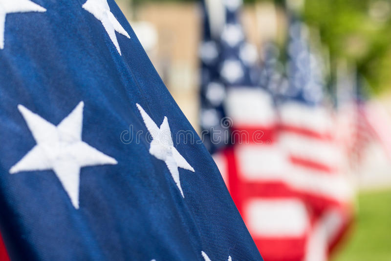 Closeup Stars on American Flag stock photos
