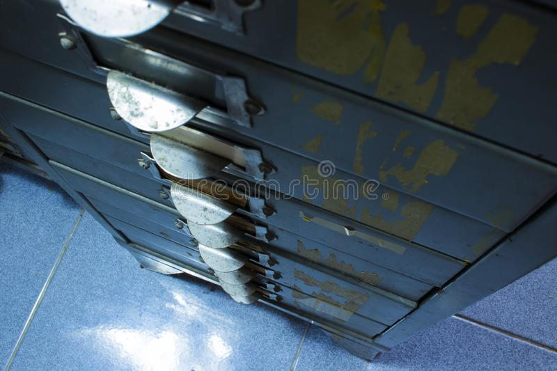 Closeup of Steel filing cabinet Rows of file cabinet , document drawer royalty free stock photo