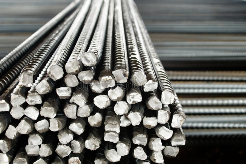 Closeup of Steel Rods or Bars, to Reinforce Concrete. Stacked Together royalty free stock image