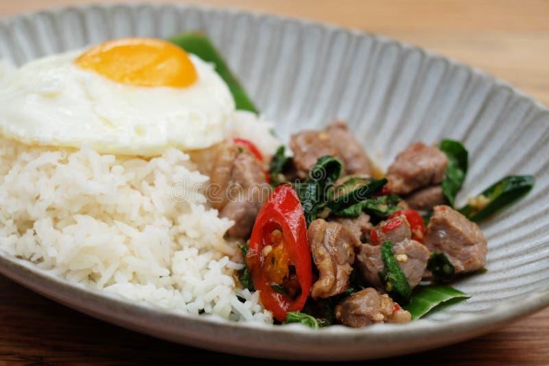 Closeup stir fried beef. Kaprow rice royalty free stock image