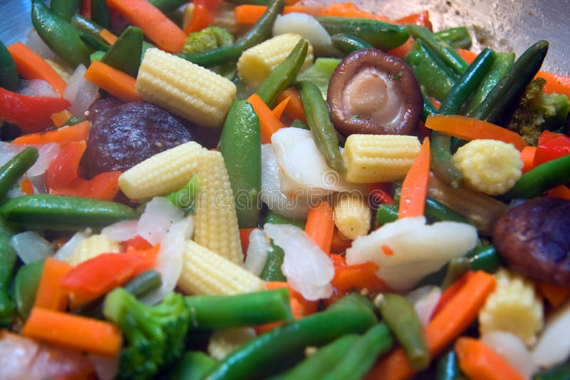 Closeup of stir fry vegetables. Frying pan with different stir fry vegetables stock images