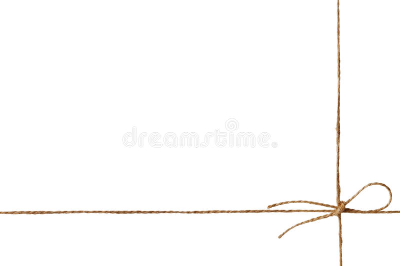 Closeup string or twine tied in a bow isolated on white. Background royalty free stock photos