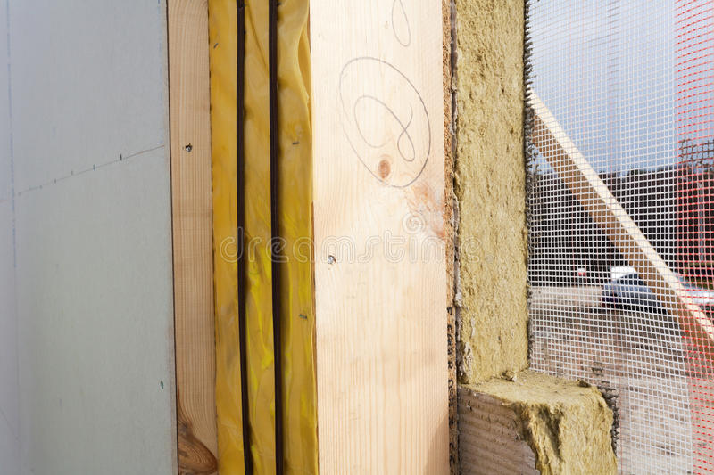 Closeup of structural Insulated Panels with mineral rockwool insulation and Drywall. Closeup of structural Insulated Panels with mineral rockwool insulation and royalty free stock image