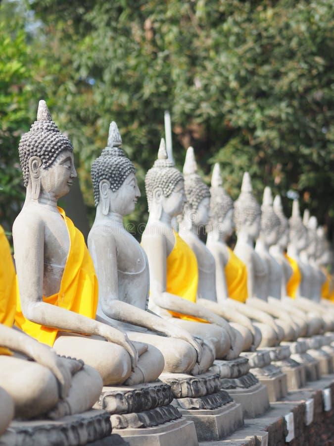 Stucco Buddha images in the Ayutthaya period enshrined at the Wat Yaichaimongkol, Buddhist Temple. Closeup Stucco Buddha images in the Ayutthaya period enshrined royalty free stock photos