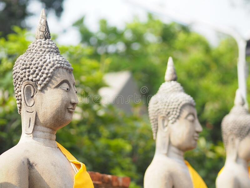 Stucco Buddha images in the Ayutthaya period enshrined at the Wat Yaichaimongkol, Buddhist Temple. Closeup Stucco Buddha images in the Ayutthaya period enshrined royalty free stock photography