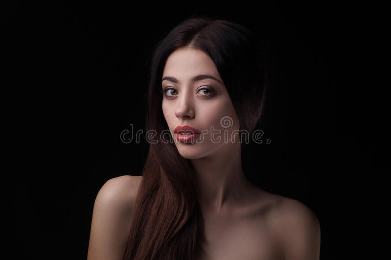 Closeup studio portrait of beauty woman stock images