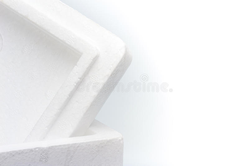 Closeup of Styrofoam storage box isolated royalty free stock photography