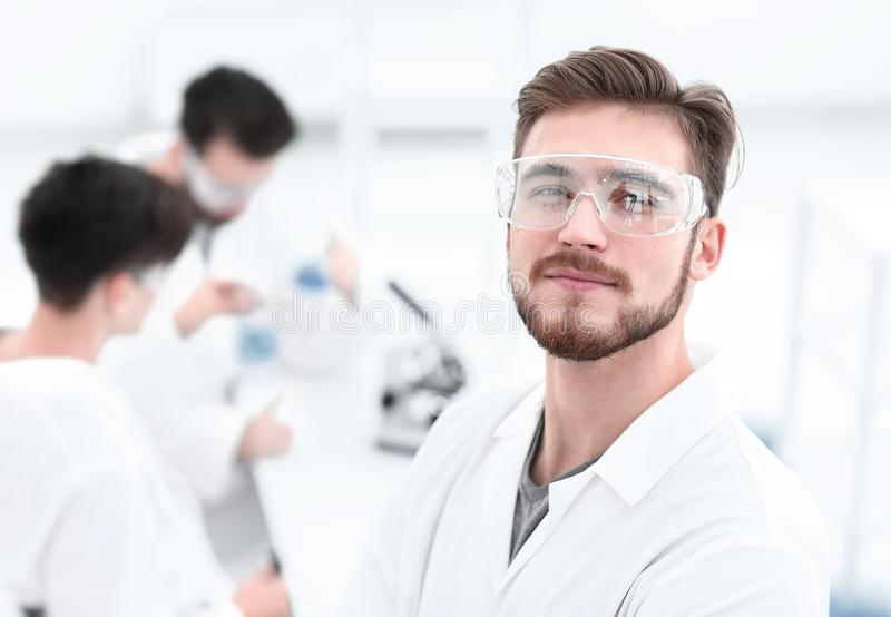 Closeup.successful scientist on a light background. Photo with copy space royalty free stock photo