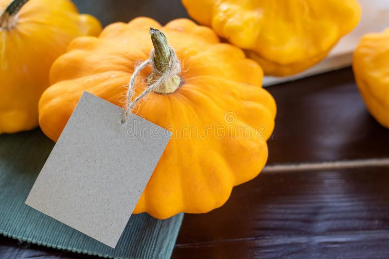 Closeup summer squash, orange pumpkins on wooden table with a craft paper tag, copyspace, autumn farm food and thanksgiving concep. Small summer squash, orange stock images