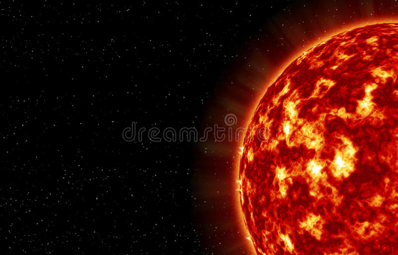 The closeup of Sun star. With explosions on its surface royalty free illustration