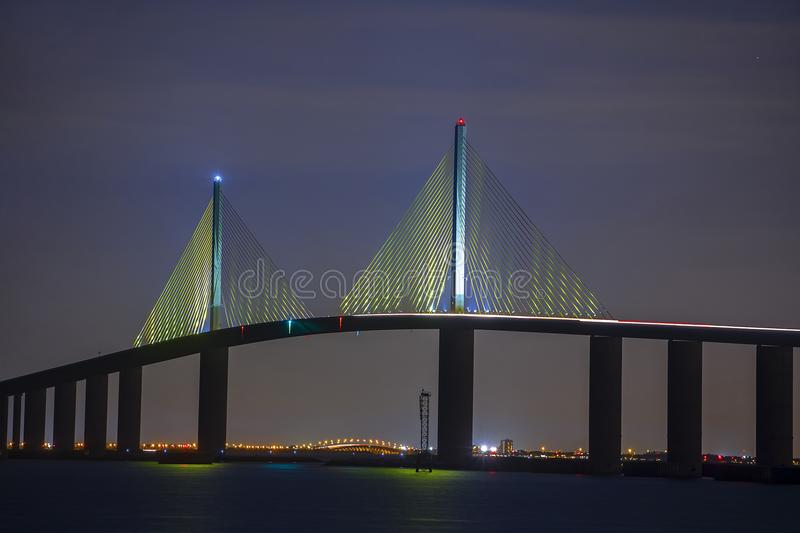 Sunshine Skyway Bridge Twin Suspension Cable Peaks At Night royalty free stock photo