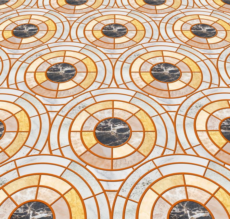 Closeup surface tile circle pattern by mix of color marble stone floor texture background stock images