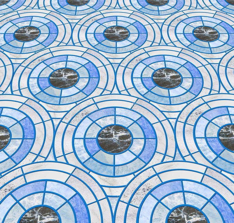 Closeup surface tile circle pattern by mix of color marble stone floor texture background stock photography
