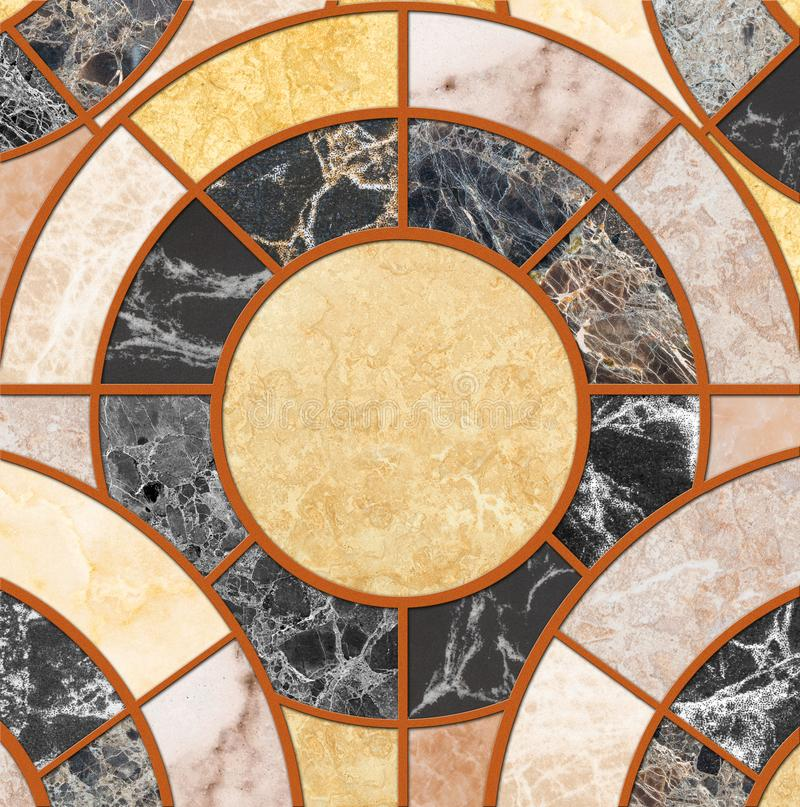 Closeup surface tile circle pattern by mix of color marble stone floor texture background royalty free stock image