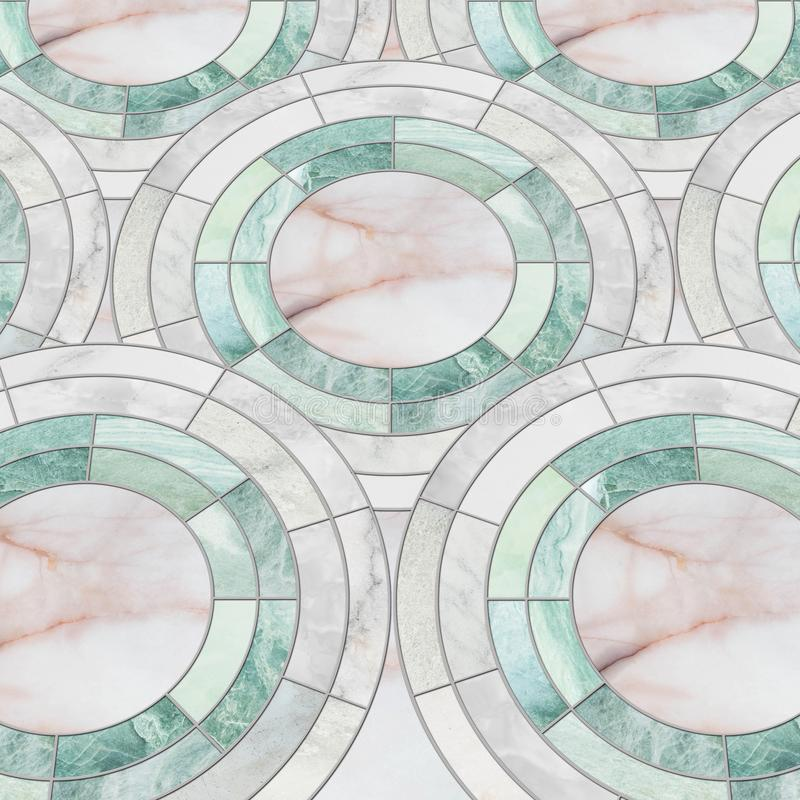Closeup surface tile circle pattern by mix of color marble stone floor texture background stock photos