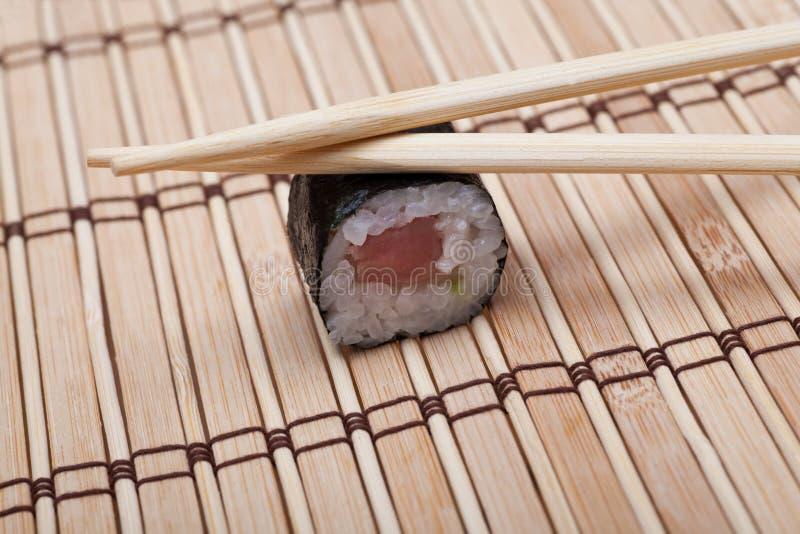 Closeup Sushi On Bamboo Mat Royalty Free Stock Photos