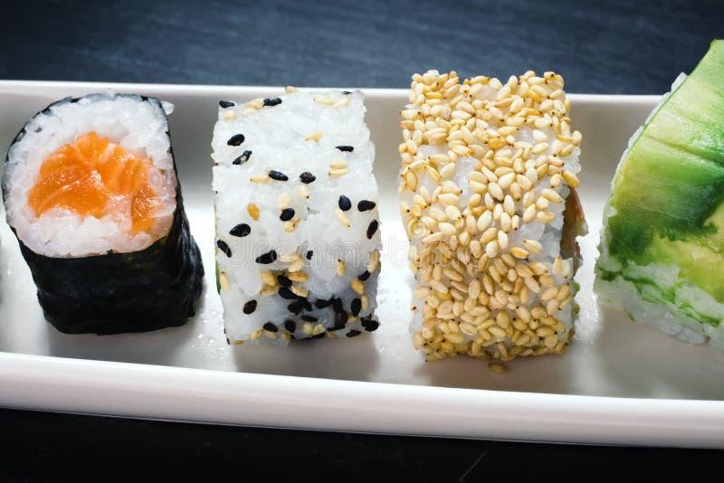 Closeup sushi rolls royalty free stock photo