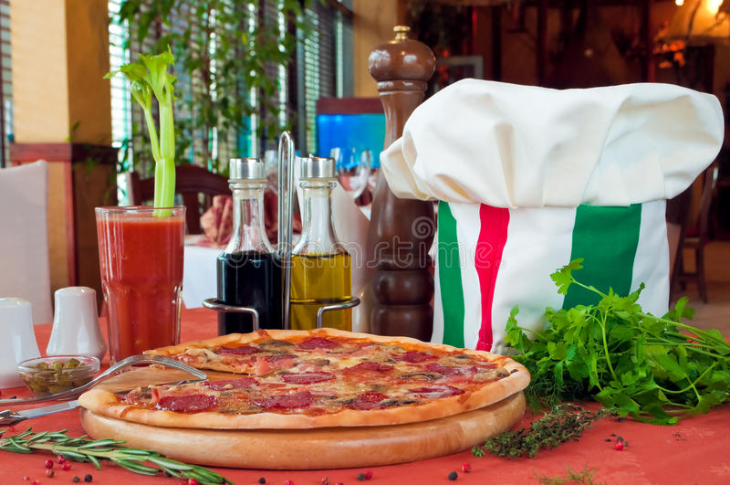 Closeup of a table with pizza royalty free stock image