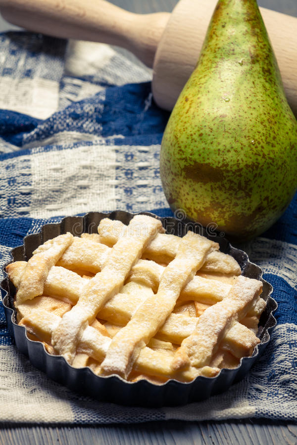 Closeup of tart made ​​with fresh pears stock photo