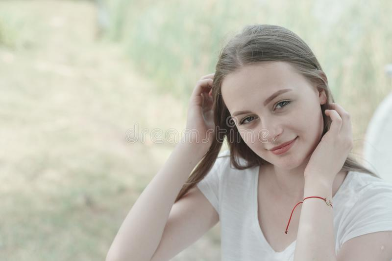 Close up of teenage girl smiling to the camera. Education, school girl. Smiling young woman. stock image