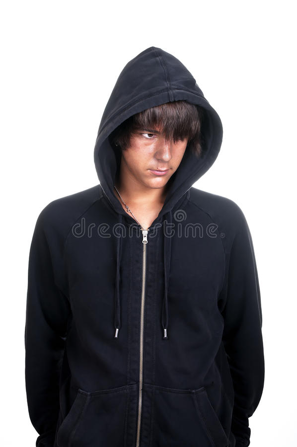 Closeup Of A Teenager Wearing A Hoodie, Underlit Stock Photo