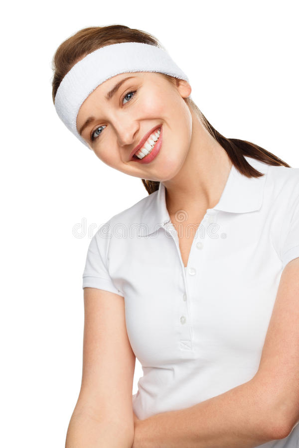 Closeup tennis portrait happy athletic woman in gym clothes. Smiling stock photos