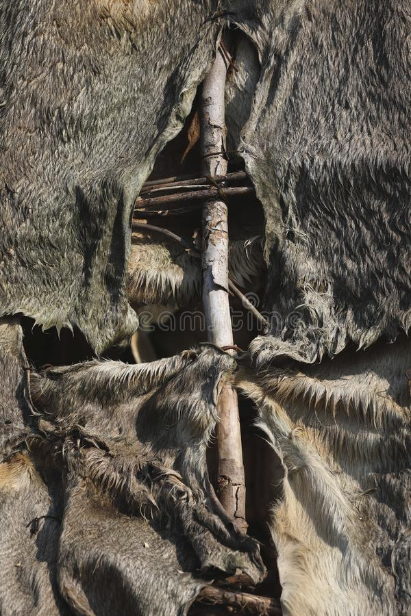 Tent made of animal hides and branches. A closeup of a tent made out of animal hides and branches stock photos