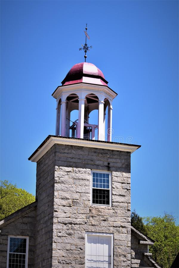 Closeup of 19th century woolen mill cupola. Harrisville, Cheshire County, New Hampshire, United States. New England architecture. Set in the pastoral town of royalty free stock photo