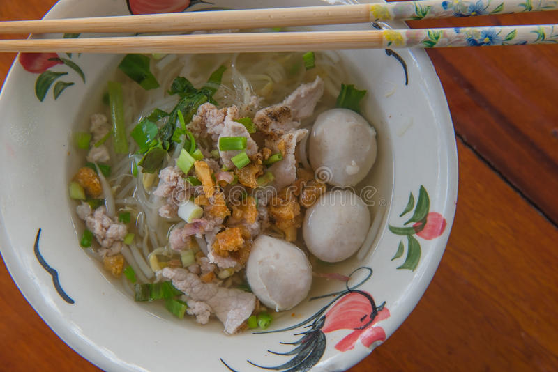 Closeup Thai noodles with boiled in a bowl. At restaurant. Closeup Thai noodles with boiled in a bowl At restaurant royalty free stock photography