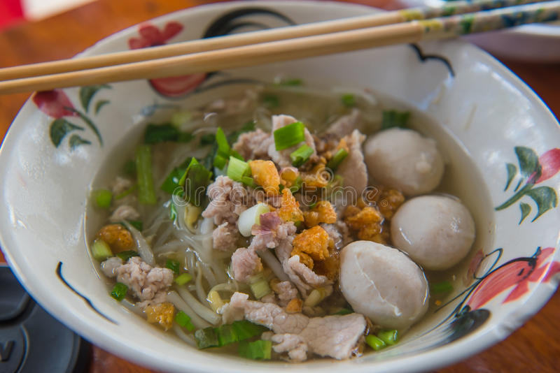 Closeup Thai noodles with boiled in a bowl. At restaurant. Closeup Thai noodles with boiled in a bowl At restaurant stock images