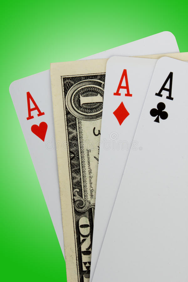 Download Closeup Of Three Aces And One Dollar Note Stock Photo - Image of concept, gambling: 13439306