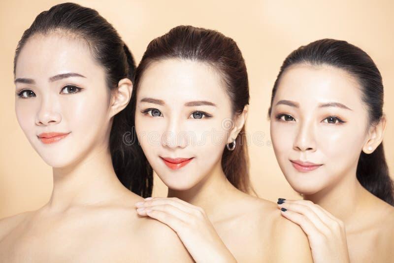 Closeup of three asian beauty face royalty free stock photos
