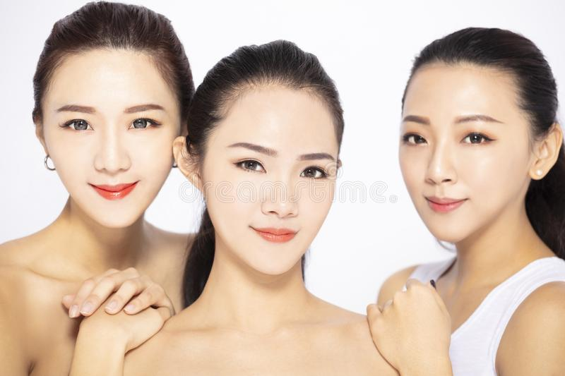Closeup of three asian beauty face royalty free stock images