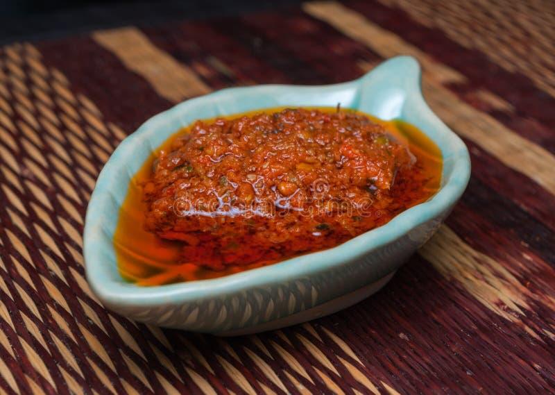 Closeup till traditionell italiensk Bolognese/Ragu sås i fisk formad bunke arkivfoto