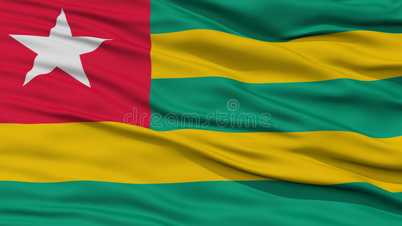 Closeup Togo Flag stock illustrationer