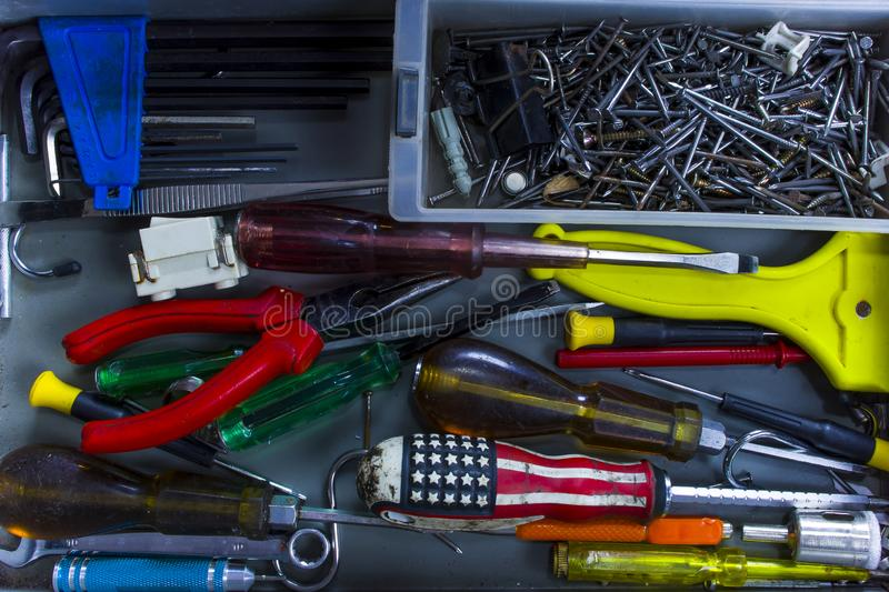 Closeup tools various in opened toolbox. View from above royalty free stock photos