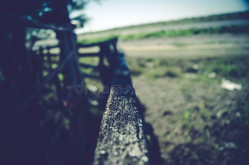 Closeup of top rail of fence royalty free stock photo