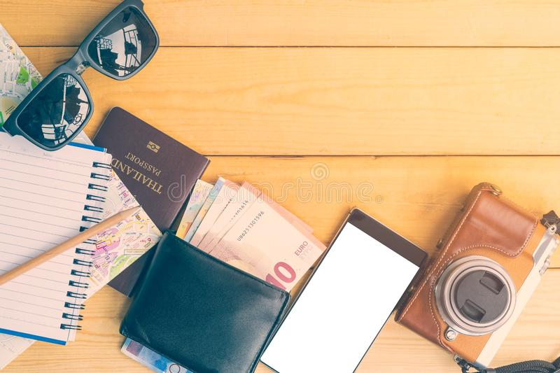 The equipment for travel and tourism stock images