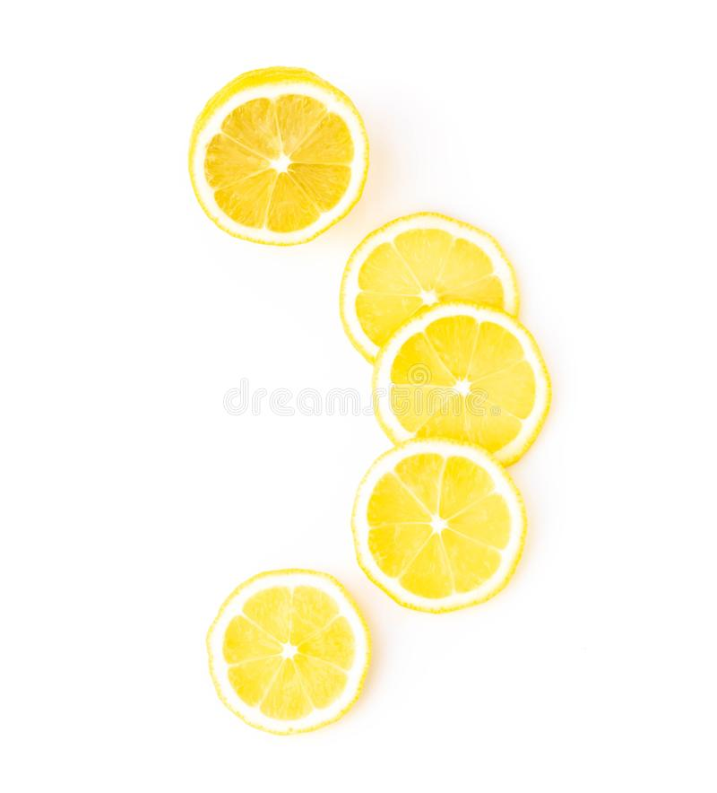 Closeup top view fresh lemon fruit slice on white background stock image
