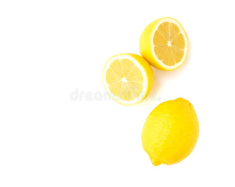 Closeup top view fresh lemon fruit slice on white background stock images