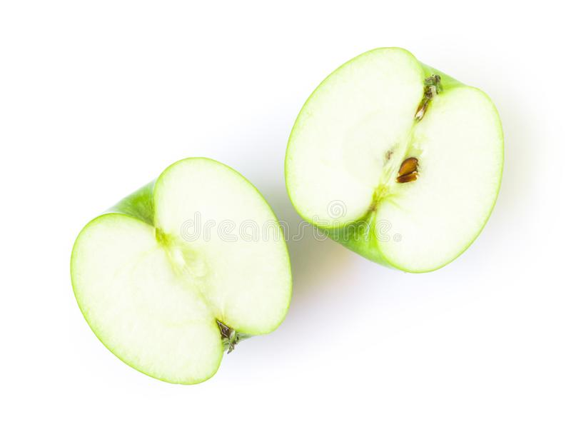 Closeup top view green apple on white background, fruit for heal royalty free stock photo
