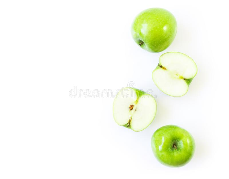 Closeup top view green apple on white background with space for. Product or text advertising, t healthy concept stock image