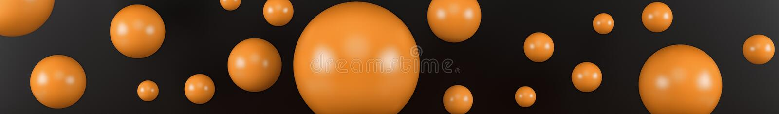 Closeup top view group of assorted industrial ceramic orange balls on black background. 3d render royalty free illustration