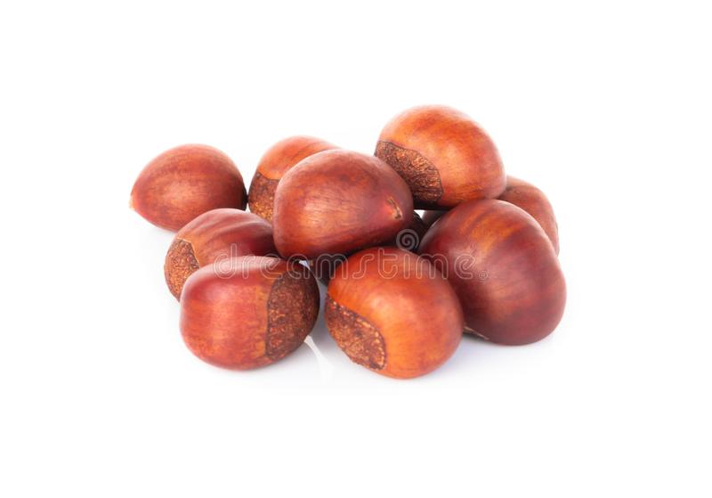 Closeup top view horse chestnuts isolated on white background,  healthy food concept. Closeup top view horse chestnuts isolated on white background,  healthy royalty free stock images