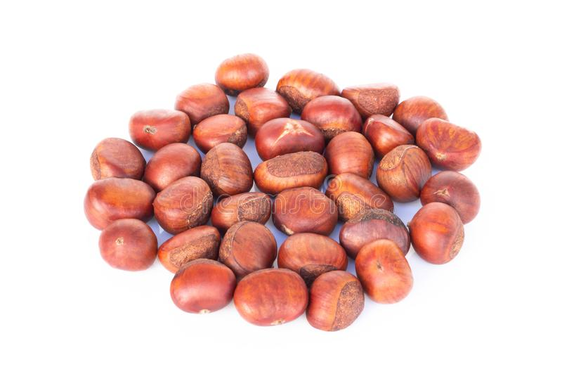 Closeup top view horse chestnuts isolated on white background,  healthy food concept. Closeup top view horse chestnuts isolated on white background,  healthy stock photography