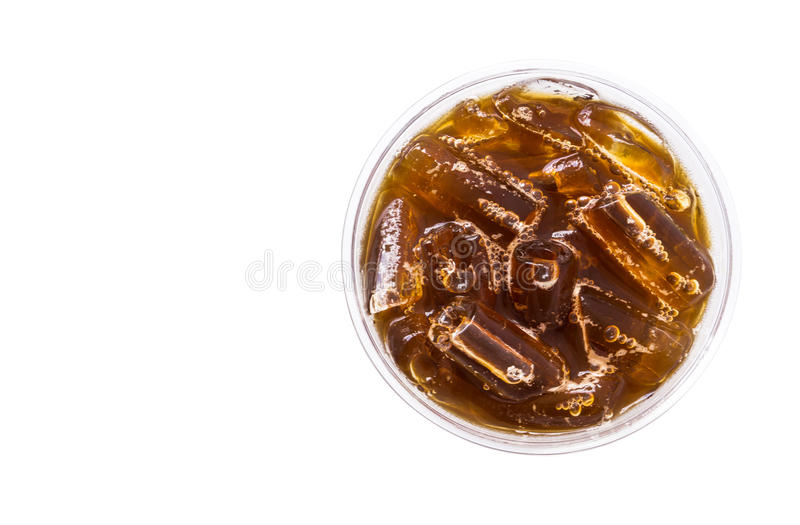 Closeup top view ice of americano isolated on white background w royalty free stock photos