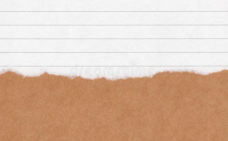 Closeup torn grunge brown paper on white lined paper texture background. Rip Paper note ,brown paper sheet with space for text ,pa. Ttern or abstract background stock photos